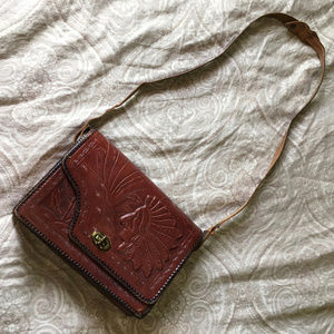 Tooled Leather Vintage Reversible Mexican Purse